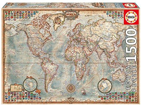 Educa - El Mundo, Mapa político geografía Puzzle, 1 500 Piezas, Multicolor (16005)*
