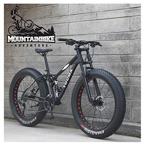 NENGGE Bicicleta BTT 26 Pulgadas Neumático Gordo para Adulto Hombre Mujer, Doble Suspensión Bicicleta Montaña con Freno Disco, Profesional Fibra de Carbono MTB Ciclismo,Negro,27 Speed