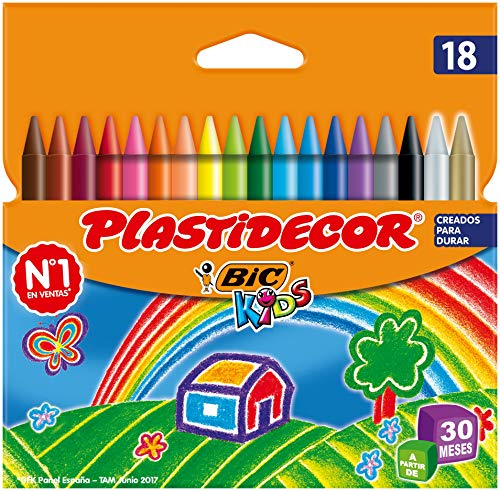 BIC Kids Ceras de Colores para Niños a Partir de 30 Meses, Plastidecor, Colores Surtidos, Material Escolar, 18 Ceras
