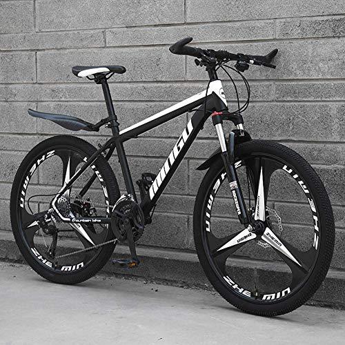 Bicicleta de montaña de Fibra de Carbono 21 velocidades Freno de Disco Doble y Horquilla de suspensión Delantera Bicicleta de montaña con Rueda de 24/26 Pulgadas, Rojo, 24 Pulgadas