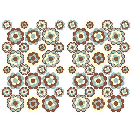 Finest Folia 56 pegatinas hippie flores autoadhesivas Flower Power decoración para coche, bicicleta, autobús, paredes, muebles, estilo retro años 70 (marrón y beige mate (R063))