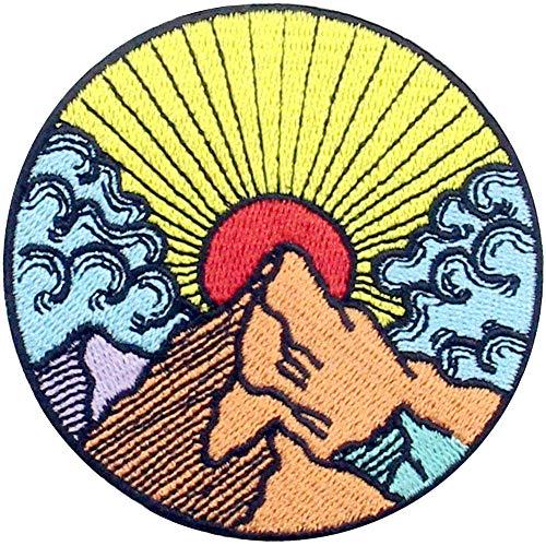 Parche termoadhesivo para la ropa, diseño de Sol amanecer desde la montaña