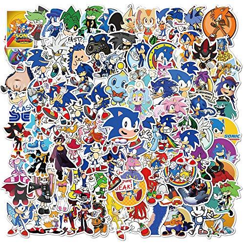 NEITWAY Sonic The Hedgehog Pegatinas Casco Moto 100-Pcs Cartoons Pegatinas Ordenador, Impermeable...*