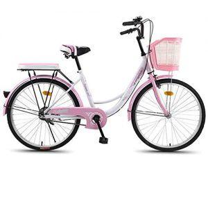 Bicicleta Rosa con Cesta Mujer